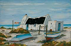 Fisherman's cottage painted by Raymond Lawrence, Kassiesbaai (Arniston)