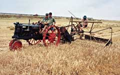 Vintage, iron-wheeled tractor with cutting machine
