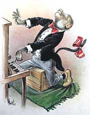 Cartoon by T O Honiball (baboon dressed in tails playing a piano