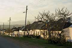 Row of historic thatched cottages, Elim Mission Village, South Africa. © Maré Mouton