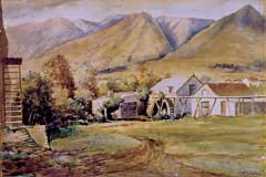 Painting (1911) by Thomas Stockoe of the mill at Stanford, South Africa