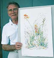 Artist Eric Judd with a painting of the new aloe named after him
