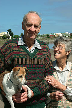 Nico Myburgh with wife Ella and dog Topsie at the Vermont pan, 2004